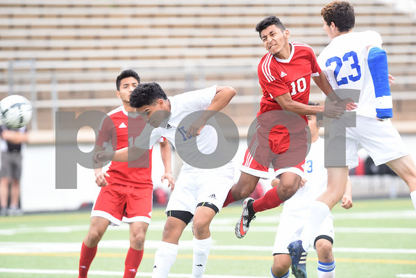 Kilgore High School's Yonatan Contreras (10) heads the ball during their U.I.L. Region II Class 4-A tournament game against Henderson Saturday April 9, 2016 at Trinity Mother Frances Rose Stadium in Tyler.   (Sarah A. Miller/Tyler Morning Telegraph)