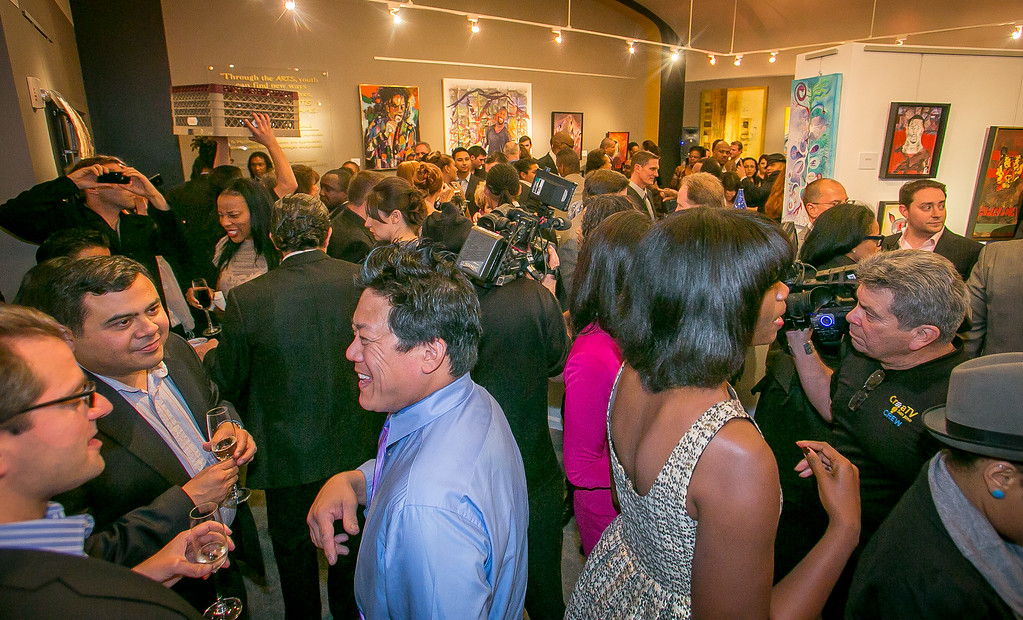 A packed house at the grand opening of the Vernon Davis Gallery in Santana Row in San Jose on Monday, December 10th, 2012.