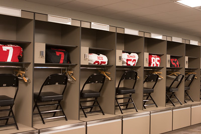 Sample 49ers uniforms in the visitors' locker room (for photo posing)