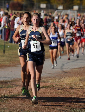 "Kelley Robinson (57) of Nederland wins the 2A cross country regionals in Lyons on Thursday.<br /> For more photos of the races, go to  <a href=""http://www.dailycamera.com"">http://www.dailycamera.com</a><br /> Cliff Grassmick / October 21, 2010"