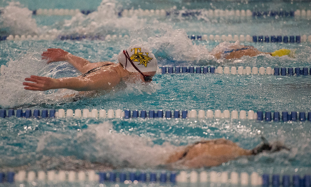 . Thompson Valley\'s Katie von der Lippe competes in the 100-yard butterfly finals Saturday afternoon at EPIC in Fort Collins during the 2017 CHSAA Girls 4A State Championships.  (Michael Brian/For the Reporter-Herald)