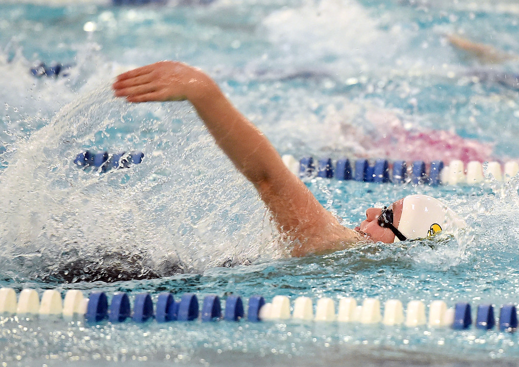 . Thompson Valley\'s Haylee Buyers swims the 200 individual medley Friday, Feb. 10, 2017, during the girls 4A State Swimming Championships at Eudora Pool Ice Center in Fort Collins. (Photo by Jenny Sparks/Loveland Reporter-Herald)