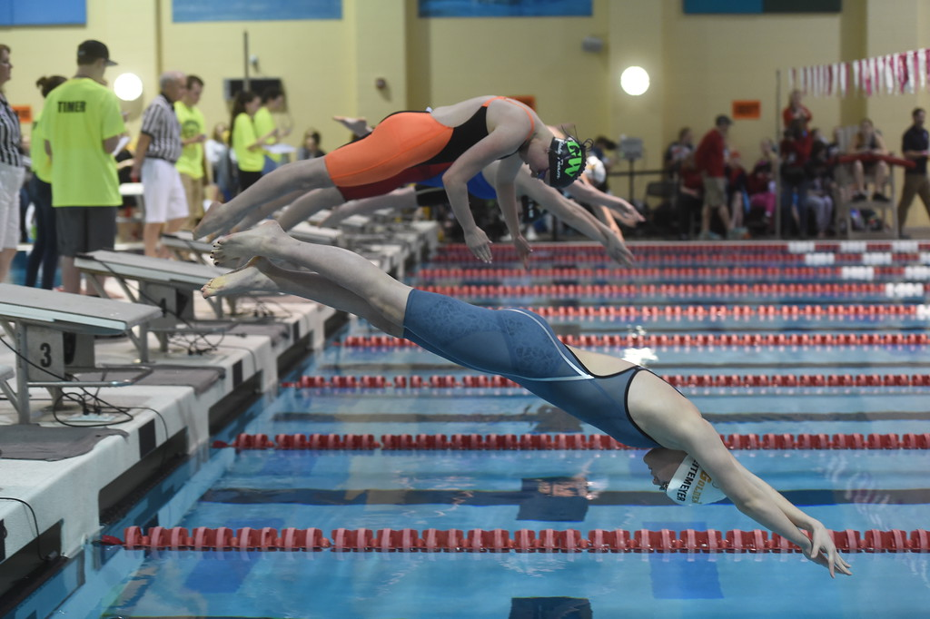 . at Colorado 4A Girls State Swimming in Thornton on Saturday.  For more photos, go to BoCoPreps.com.  Cliff Grassmick / Staff Photographer/ February 10, 2018