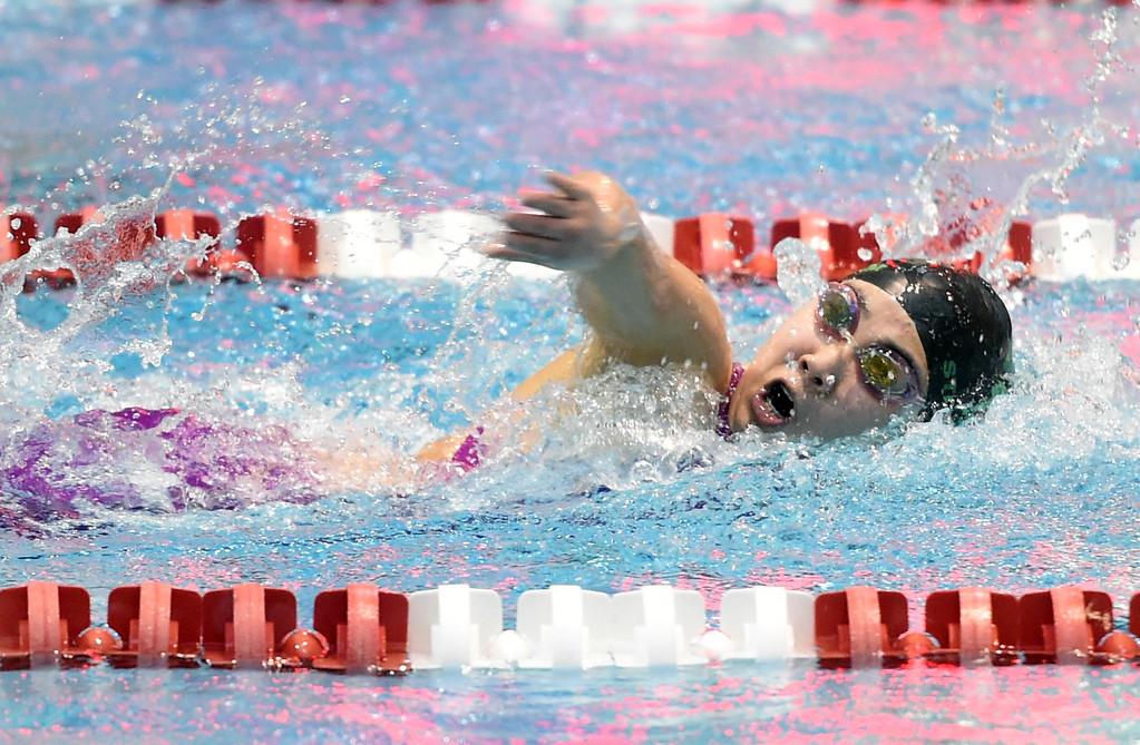 . Emiley Yie, of Niwot, in the 200 freestyle at Colorado 4A Girls State Swimming in Thornton on Saturday.  For more photos, go to BoCoPreps.com.  Cliff Grassmick / Staff Photographer/ February 10, 2018