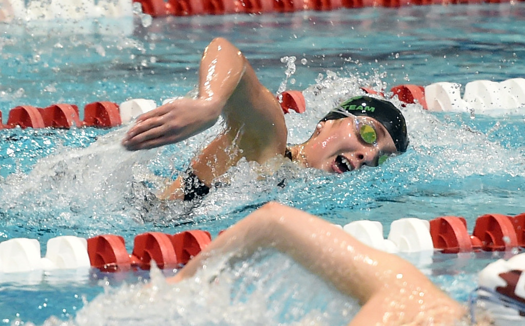 . Abby Shaw, of Niwot,, in the 200 freestyle at Colorado 4A Girls State Swimming in Thornton on Saturday.  For more photos, go to BoCoPreps.com.  Cliff Grassmick / Staff Photographer/ February 10, 2018