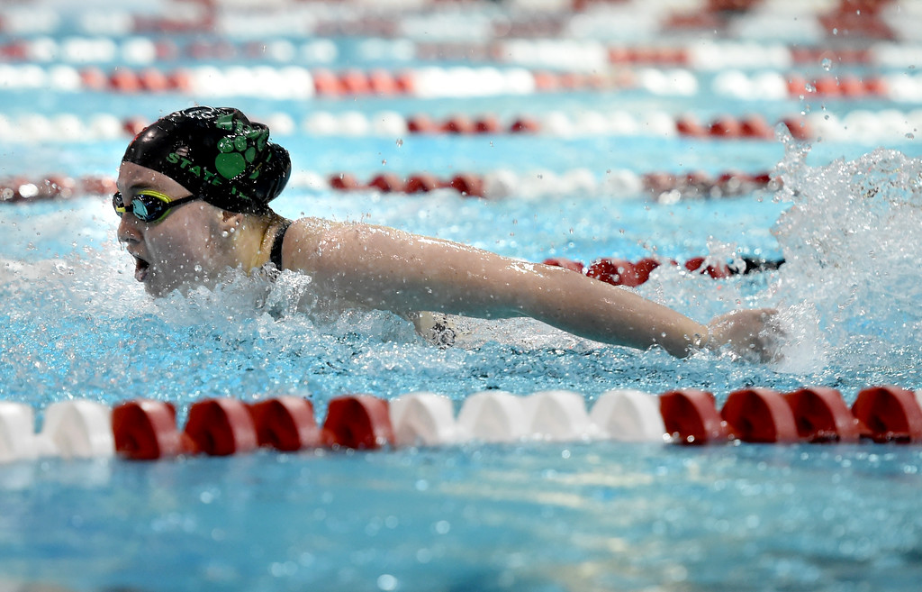 . Peyten Irwin, of Niwot, in the 100 butterfly at Colorado 4A Girls State Swimming in Thornton on Saturday.  For more photos, go to BoCoPreps.com.  Cliff Grassmick / Staff Photographer/ February 10, 2018