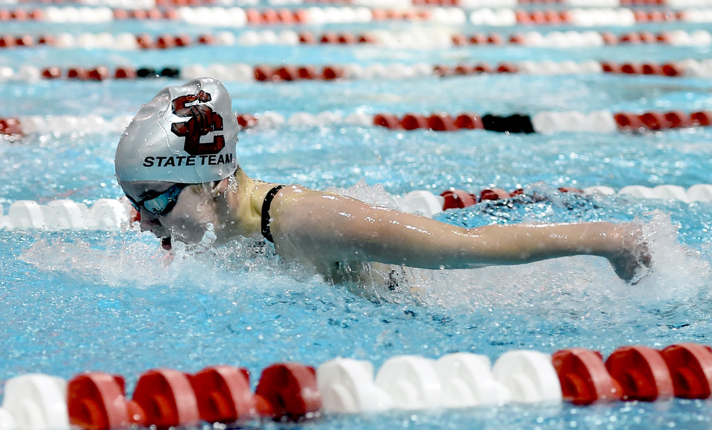 . Emma Hermeston, of Silver Creek, in the 100 butterfly at Colorado 4A Girls State Swimming in Thornton on Saturday.  For more photos, go to BoCoPreps.com.  Cliff Grassmick / Staff Photographer/ February 10, 2018