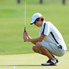 Niwot High School's Luke Toillion reacts on a missed putt at the <br /> 4A Northern Regionals at the Indian Peaks Golf Course on Wednesday September 19, 2012. <br /> Photo by Paul Aiken