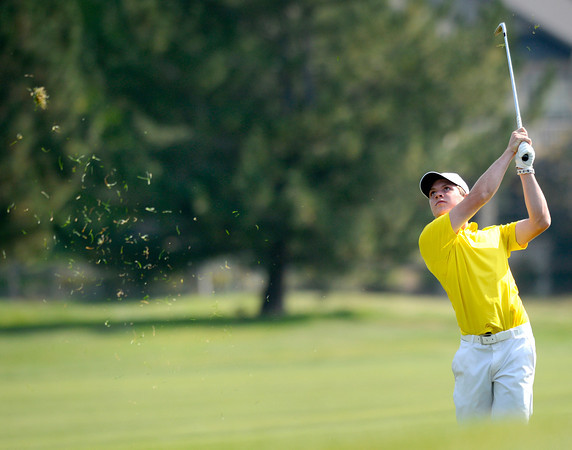 Windsor High School's Brett Krantz hits a fairway iron at the <br /> 4A Northern Regionals at the Indian Peaks Golf Course on Wednesday September 19, 2012. <br /> Photo by Paul Aiken