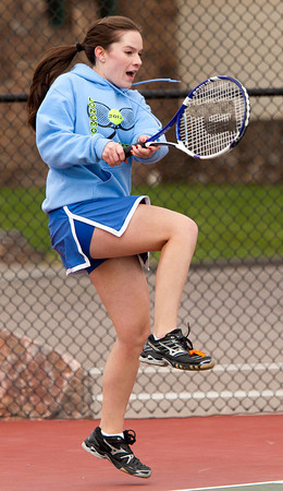 Longmont 4 Doubles:<br /> Rebeka Cowley during the 4A State Tennis Girls Championships at Pueblo City Park on Friday May 11, 2012<br /> All photos by Steve Bigley / For the Camera