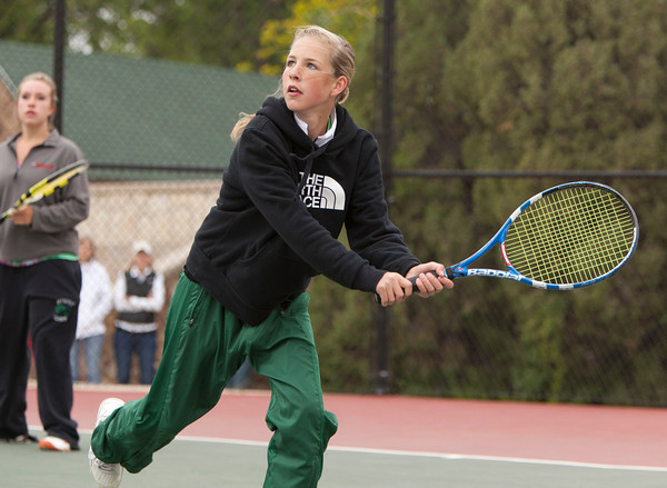 Niwot 2 Doubles:<br /> Jami Albert during the 4A State Tennis Girls Championships at Pueblo City Park on Friday May 11, 2012<br /> All photos by Steve Bigley / For the Camera