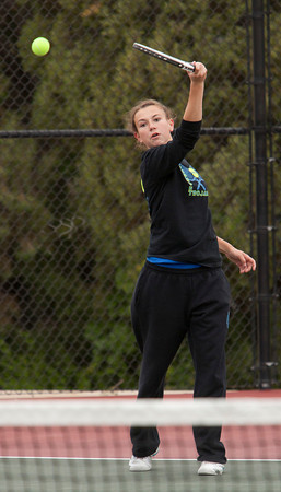 Longmont 2 Doubles:<br /> Olivia Lance  during the 4A State Tennis Girls Championships at Pueblo City Park on Friday May 11, 2012<br /> All photos by Steve Bigley / For the Camera
