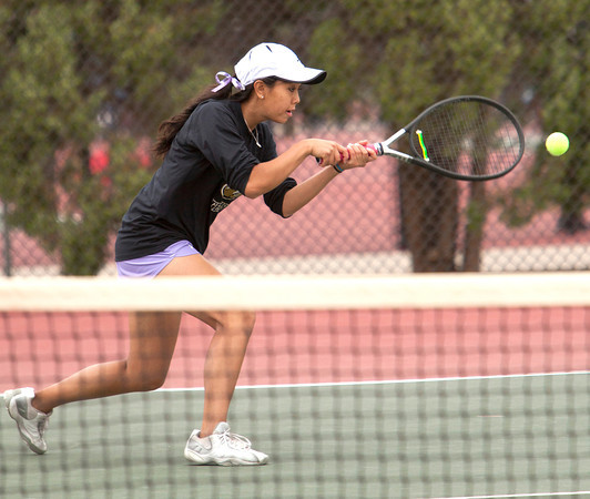 Holy Family 3 Doubles:<br /> Aria Nguyen during the 4A State Tennis Girls Championships at Pueblo City Park on Friday May 11, 2012<br /> All photos by Steve Bigley / For the Camera