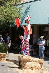 Corner Marshal Blake Anton wearing the Uncle Sam outfit