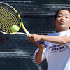 Fairview's Katie Li hits the ball during her match in the 5A State Tennis Championships in Denver, Colorado May 10, 2012. CAMERA/MARK LEFFINGWELL