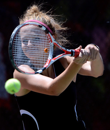 Fairview's Jesse Clauson returns the ball during her match in the 5A State Tennis Championships in Denver, Colorado May 10, 2012. CAMERA/MARK LEFFINGWELL