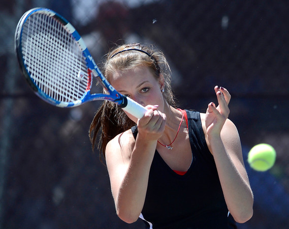 Fairview's Hayley Young returns the ball during her match in the 5A State Tennis Championships in Denver, Colorado May 10, 2012. CAMERA/MARK LEFFINGWELL