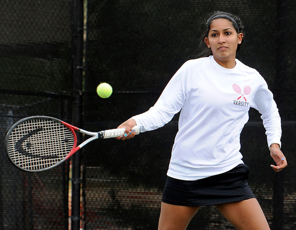 "Fairview High School's Sonia Ghosh returns the ball during the Girls class 5A #4 doubles championship match against Cherry Creek on Friday, May 11, at the Gates Tennis Center in Denver. For more photos of the matches go to  <a href=""http://www.dailycamera.com"">http://www.dailycamera.com</a><br /> Jeremy Papasso/ Camera"