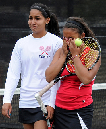 "Fairview High School's Hannah Embree, right, and Sonia Ghosh show their emotion after losing the Girls class 5A #4 doubles championship match against Cherry Creek on Friday, May 11, at the Gates Tennis Center in Denver. For more photos of the matches go to  <a href=""http://www.dailycamera.com"">http://www.dailycamera.com</a><br /> Jeremy Papasso/ Camera"