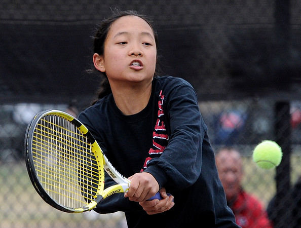 "Fairview High School's Katie Li returns the ball during the Girls class 5A #3 singles championship match against Denver East High School's Natalia Dellavalle on Friday, May 11, at the Gates Tennis Center in Denver. For more photos of the matches go to  <a href=""http://www.dailycamera.com"">http://www.dailycamera.com</a><br /> Jeremy Papasso/ Camera"