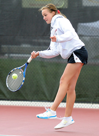 "Fairview High School's Hayley Young returns the ball during the Girls class 5A #2 doubles championship match against Cherry Creek on Friday, May 11, at the Gates Tennis Center in Denver. For more photos of the matches go to  <a href=""http://www.dailycamera.com"">http://www.dailycamera.com</a><br /> Jeremy Papasso/ Camera"
