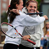 "Fairview High School's Hayley Young, left, hugs teammate Jessee Clauson after winning the Girls class 5A #2 doubles championship match against Cherry Creek on Friday, May 11, at the Gates Tennis Center in Denver. For more photos of the matches go to  <a href=""http://www.dailycamera.com"">http://www.dailycamera.com</a><br /> Jeremy Papasso/ Camera"