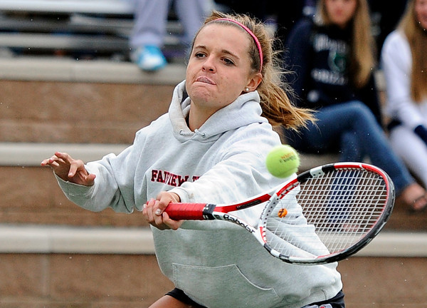 "Fairview High School's Jessee Clauson returns the ball during the Girls class 5A #2 doubles championship match against Cherry Creek on Friday, May 11, at the Gates Tennis Center in Denver. For more photos of the matches go to  <a href=""http://www.dailycamera.com"">http://www.dailycamera.com</a><br /> Jeremy Papasso/ Camera"