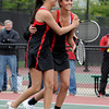 "Fairview High School's Paris Hogan, left, celebrates with teammate Megan Thayer after winning the Girls class 5A #1 doubles championship match against Cherry Creek on Friday, May 11, at the Gates Tennis Center in Denver. For more photos of the matches go to  <a href=""http://www.dailycamera.com"">http://www.dailycamera.com</a><br /> Jeremy Papasso/ Camera"