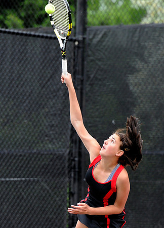 "Fairview High School's Paris Hogan serves the ball during the Girls class 5A #1 doubles match championship match against Cherry Creek on Friday, May 11, at the Gates Tennis Center in Denver. Hogan and teammate Megan Thayer won the match. For more photos of the matches go to  <a href=""http://www.dailycamera.com"">http://www.dailycamera.com</a><br /> Jeremy Papasso/ Camera"