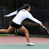 "Fairview High School's Sonia Ghosh returns the ball during the Girls class 5A #4 doubles championship match against Cherry Creek on Friday, May 11, at the Gates Tennis Center in Denver. Ghosh and Hannah Embree lost the match. For more photos of the matches go to  <a href=""http://www.dailycamera.com"">http://www.dailycamera.com</a><br /> Jeremy Papasso/ Camera"