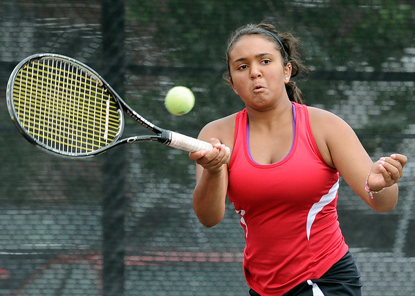 "Fairview High School's Hannah Embree returns the ball during the Girls class 5A #4 doubles championship match against Cherry Creek on Friday, May 11, at the Gates Tennis Center in Denver. For more photos of the matches go to  <a href=""http://www.dailycamera.com"">http://www.dailycamera.com</a><br /> Jeremy Papasso/ Camera"