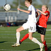 Monarch's Katie Nelson (left) steals the ball from Fairview's Lauren White (right) during their soccer game in Louisville, Colorado May 1, 2012. CAMERA/MARK LEFFINGWELL