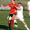 Monarch's Megan Lacy (right) and Fairview's Megan Higgins (left) collide going for the ball during their soccer game in Louisville, Colorado May 1, 2012. CAMERA/MARK LEFFINGWELL