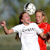 Monarch's Cassie Owens (left) and Fairview's Berkley Gamble (left) try to head the ball during their soccer game in Louisville, Colorado May 1, 2012. CAMERA/MARK LEFFINGWELL