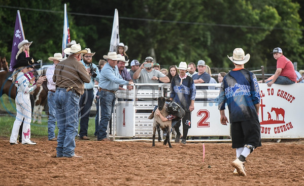 Owen Woods holds on tight while riding a sheep during the mutton busting event at the 57th TOPS in Texas Rodeo. The three-night event started on Thursday, May 16 and went through Sunday in Jacksonville.  (Jessica T. Payne/Tyler Morning Telegraph)