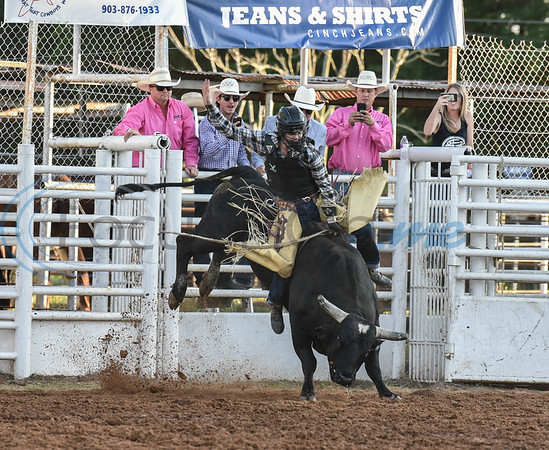 Maverick Potter of Waxahachie, Texas takes his turn during the bull riding event at the 57th TOPS in Texas Rodeo in Jacksonville on Thursday, May 16. (Jessica T. Payne/Tyler Morning Telegraph)
