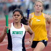 Niwot's Deyja Enriquez runs the first leg of the 4x800 relay Thursday May 17, 2012 during the State Track and Field Championship in Lakewood. (Lewis Geyer/Times-Call)