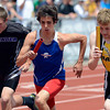 Centaurus' Alani Estrella, center, starts the 4x800 relay Thursday May 17, 2012 during the State Track and Field Championship in Lakewood. (Lewis Geyer/Times-Call)