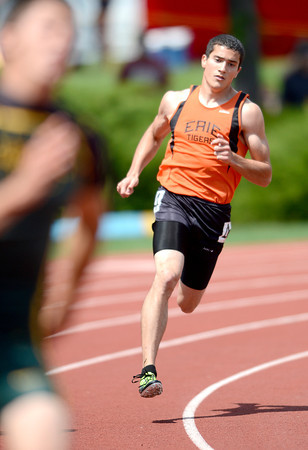 Erie's Zach Solomon runs the 400m dash during the 2012 State Track and Field Championships in Lakewood, Colorado May 17, 2012. CAMERA/ MARK Leffingwell