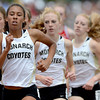 Niwot's Clair Greene (front), Elissa Mann (middle) and Karina Mann (back) run the 5A Girls 800 during the second day of the State Track and Field Championships in Lakewood, Colorado May 18, 2012. CAMERA/ MARK Leffingwell