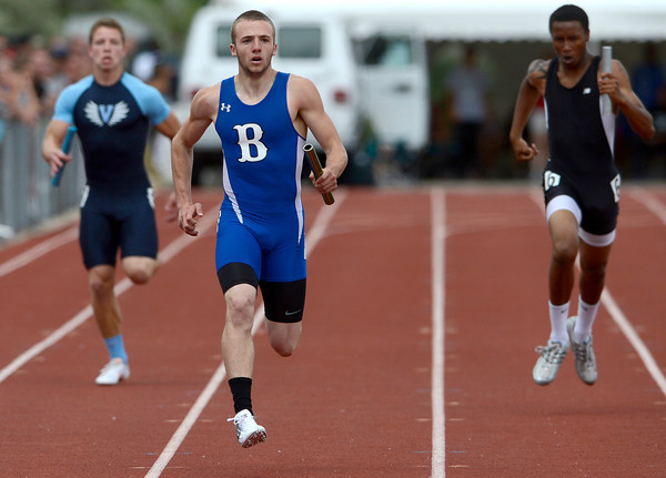 Broomfield's Harrison Einspahr runs anchor in the 4A Boys 4x200 relay during the second day of the State Track and Field Championships in Lakewood, Colorado May 18, 2012. CAMERA/ MARK Leffingwell