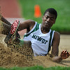 Niwot High School's Lorne Jenkins slides out as he touches down in the sand pit of the boys 4A long jump during the 2012 State Track and Field Championships Friday, May 18, 2012 at Jeffco Stadium in Lakewood.<br /> (Matthew Jonas/Times-Call)