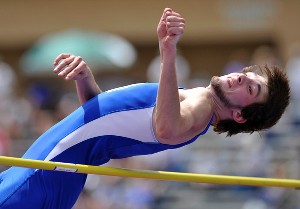 Broomfield High School's Jayson Dupre clears the bar in the 4A boys high jump during the 2012 State Track and Field Championships Friday, May 18, 2012 at Jeffco Stadium in Lakewood.<br /> (Matthew Jonas/Times-Call)