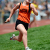 Erie's Bella Steinhauer runs the first leg of the 4A Girls sprint medley during the second day of the State Track and Field Championships in Lakewood, Colorado May 18, 2012. CAMERA/ MARK Leffingwell