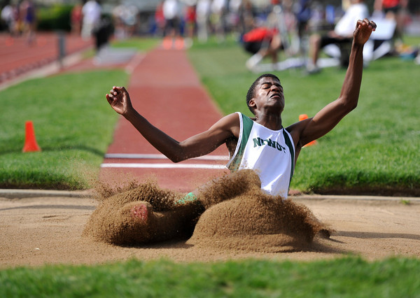 Niwot High School's Lorne Jenkins touches down in the boys 4A long jump during the 2012 State Track and Field Championships Friday, May 18, 2012 at Jeffco Stadium in Lakewood.<br /> (Matthew Jonas/Times-Call)
