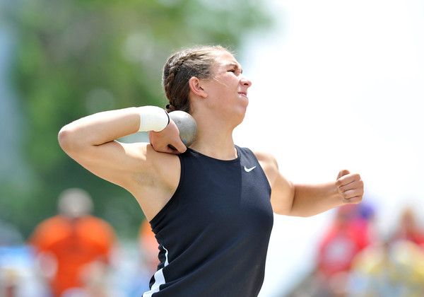 Silver Creek High School's Valarie Allman throws in the 4A girls shot put during the 2012 State Track and Field Championships Friday, May 18, 2012 at Jeffco Stadium in Lakewood.<br /> (Matthew Jonas/Times-Call)
