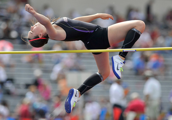 Boulder High School's Hailey Hampson easily clears the bar in the 5A girls high jump during the 2012 State Track and Field Championships Friday, May 18, 2012 at Jeffco Stadium in Lakewood.<br /> (Matthew Jonas/Times-Call)