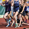 Sangre De Christo High School's Amber Reynolds trips and falls into Nederland High School's Kelley Robinson near the start of the girls 2A 3200 run during the 2012 State Track and Field Championships Friday, May 18, 2012 at Jeffco Stadium in Lakewood. The race was restarted as a result of the fall.<br /> (Matthew Jonas/Times-Call)