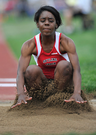 Skyline High School's Deandra Elcock touches down into the sand pit in the girls 4A long jump during the 2012 State Track and Field Championships Friday, May 18, 2012 at Jeffco Stadium in Lakewood.<br /> (Matthew Jonas/Times-Call)