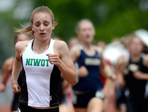 Niwot's Elise Cranny runs the 4A Girls 800 during the second day of the State Track and Field Championships in Lakewood, Colorado May 18, 2012. CAMERA/ MARK Leffingwell